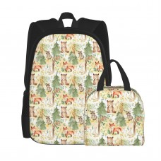 12 Woodland Animals Baby Animals In Forest Light Background School Backpack for Boys Teens Bookbag Travel Daypack Kids Girls Lunch Bag Pencil Case,Very suitable for hiking Water Resistant Teens Bookbag Fashion School Bags,Polyester.
