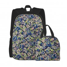 1940's French Floral School Backpack for Boys Teens Bookbag Travel Daypack Kids Girls Lunch Bag Pencil Case,Very suitable for park Water Resistant Teens Bookbag Fashion School Bags,Polyester.