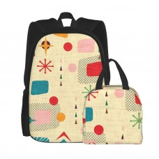 1950s Atomic Pattern School Backpack for Boys Teens Bookbag Travel Daypack Kids Girls Lunch Bag Pencil Case,Very suitable for picnic Water Resistant Teens Bookbag Fashion School Bags,Polyester.