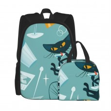1950s Cats And Cocktails School Backpack for Boys Teens Bookbag Travel Daypack Kids Girls Lunch Bag Pencil Case,Very suitable for school Water Resistant Teens Bookbag Fashion School Bags,Polyester.