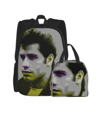 Actor Artistic John Travolta Portrait School Backpack for Boys Teens Bookbag Travel Daypack Kids Girls Lunch Bag Pencil Case,Very suitable for shopping Water Resistant Teens Bookbag Fashion School Bags,Polyester.