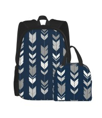 Arrow Feather-navy Greys School Backpack for Boys Teens Bookbag Travel Daypack Kids Girls Lunch Bag Pencil Case,Very suitable for park Water Resistant Teens Bookbag Fashion School Bags,Polyester.