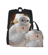 Baymax Big Hero 6 School Backpack for Boys Teens Bookbag Travel Daypack Kids Girls Lunch Bag Pencil Case,Very suitable for outdoor sports Water Resistant Teens Bookbag Fashion School Bags,Polyester.