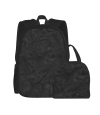 Black Marble Pattern School Backpack for Boys Teens Bookbag Travel Daypack Kids Girls Lunch Bag Pencil Case,Very suitable for park Water Resistant Teens Bookbag Fashion School Bags,Polyester.