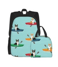 Boat Blue Black And White Schnauzer School Backpack for Boys Teens Bookbag Travel Daypack Kids Girls Lunch Bag Pencil Case,Very suitable for zoo Water Resistant Teens Bookbag Fashion School Bags,Polyester.