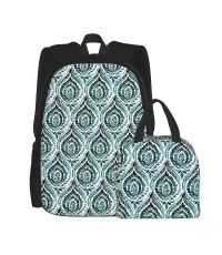 Bohemian Foli Teal School Backpack for Boys Teens Bookbag Travel Daypack Kids Girls Lunch Bag Pencil Case,Very suitable for outdoor sports Water Resistant Teens Bookbag Fashion School Bags,Polyester.
