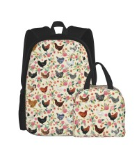 Chicken Breeds Floral Floral , Chicken , Chickens , Floral , Bird , Birds Cream School Backpack for Boys Teens Bookbag Travel Daypack Kids Girls Lunch Bag Pencil Case,Very suitable for outdoor sports Water Resistant Teens Bookbag Fashion School Bags,Polye