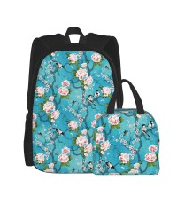 Chinoiserie Birds School Backpack for Boys Teens Bookbag Travel Daypack Kids Girls Lunch Bag Pencil Case,Very suitable for picnic Water Resistant Teens Bookbag Fashion School Bags,Polyester.