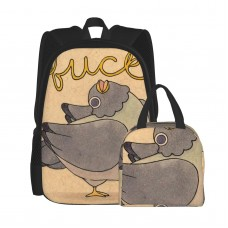 'Fuck' Pigeon 02 School Backpack for Boys Teens Bookbag Travel Daypack Kids Girls Lunch Bag Pencil Case,Very suitable for picnic Water Resistant Teens Bookbag Fashion School Bags,Polyester.