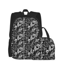 Gothic Poisonous Silver Plants And Fungi School Backpack for Boys Teens Bookbag Travel Daypack Kids Girls Lunch Bag Pencil Case,Very suitable for park Water Resistant Teens Bookbag Fashion School Bags,Polyester.