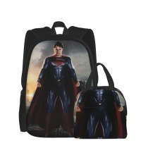 Henry Cavill Superman School Backpack for Boys Teens Bookbag Travel Daypack Kids Girls Lunch Bag Pencil Case,Very suitable for hiking Water Resistant Teens Bookbag Fashion School Bags,Polyester.