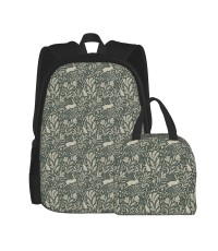 Jackalopes Antlered Rabbits In The Flowers Green Medium Scale School Backpack for Boys Teens Bookbag Travel Daypack Kids Girls Lunch Bag Pencil Case,Very suitable for park Water Resistant Teens Bookbag Fashion School Bags,Polyester.