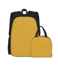 Lines (Mustard Yellow) School Backpack for Boys Teens Bookbag Travel Daypack Kids Girls Lunch Bag Pencil Case,Very suitable for picnic Water Resistant Teens Bookbag Fashion School Bags,Polyester.