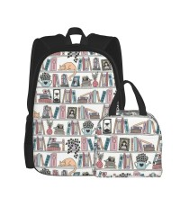 Literary Library Books Book Smart Nerdy Geek School Educational School Backpack for Boys Teens Bookbag Travel Daypack Kids Girls Lunch Bag Pencil Case,Very suitable for zoo Water Resistant Teens Bookbag Fashion School Bags,Polyester.