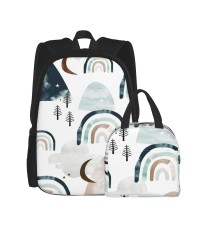 Magic Watercolors Mountains And Rainbows Clouds And Forest Trees Winter Woodland Gray Earthy Neutral Beige Blue Teal School Backpack for Boys Teens Bookbag Travel Daypack Kids Girls Lunch Bag Pencil Case,Very suitable for picnic Water Resistant Teens Book