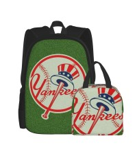 New York Yankees School Backpack for Boys Teens Bookbag Travel Daypack Kids Girls Lunch Bag Pencil Case,Very suitable for shopping Water Resistant Teens Bookbag Fashion School Bags,Polyester.