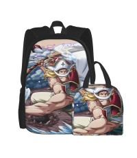 One Piece White Beard School Backpack for Boys Teens Bookbag Travel Daypack Kids Girls Lunch Bag Pencil Case,Very suitable for hiking Water Resistant Teens Bookbag Fashion School Bags,Polyester.