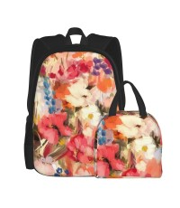 Painterly Abstract Floral School Backpack for Boys Teens Bookbag Travel Daypack Kids Girls Lunch Bag Pencil Case,Very suitable for fishing Water Resistant Teens Bookbag Fashion School Bags,Polyester.