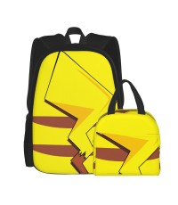 Pikachu Tail School Backpack for Boys Teens Bookbag Travel Daypack Kids Girls Lunch Bag Pencil Case,Very suitable for picnic Water Resistant Teens Bookbag Fashion School Bags,Polyester.