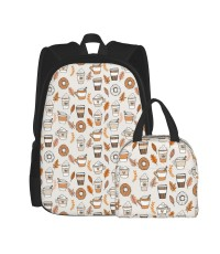 Pumpkin Spice Latte Coffee And Donuts Fall Autumn Traditions Off-white School Backpack for Boys Teens Bookbag Travel Daypack Kids Girls Lunch Bag Pencil Case,Very suitable for school Water Resistant Teens Bookbag Fashion School Bags,Polyester.