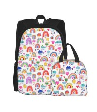 Rainbows Of Hope In The Sky Multicolored School Backpack for Boys Teens Bookbag Travel Daypack Kids Girls Lunch Bag Pencil Case,Very suitable for outdoor sports Water Resistant Teens Bookbag Fashion School Bags,Polyester.