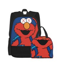 Sesame Street Corsage School Backpack for Boys Teens Bookbag Travel Daypack Kids Girls Lunch Bag Pencil Case,Very suitable for fishing Water Resistant Teens Bookbag Fashion School Bags,Polyester.
