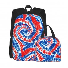 (small Scale) Red White And Blue Tie Dye LAD19BS School Backpack for Boys Teens Bookbag Travel Daypack Kids Girls Lunch Bag Pencil Case,Very suitable for school Water Resistant Teens Bookbag Fashion School Bags,Polyester.