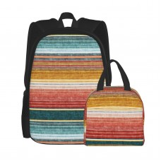 (small Scale) Serape Southwest Stripes Teal LAD19 School Backpack for Boys Teens Bookbag Travel Daypack Kids Girls Lunch Bag Pencil Case,Very suitable for shopping Water Resistant Teens Bookbag Fashion School Bags,Polyester.
