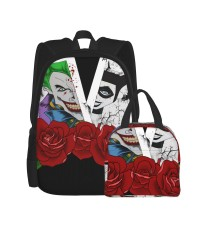 Suicide Squad The Joker School Backpack for Boys Teens Bookbag Travel Daypack Kids Girls Lunch Bag Pencil Case,Very suitable for shopping Water Resistant Teens Bookbag Fashion School Bags,Polyester.