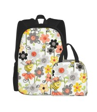 Sweet Bees Honey Bee And Flowers School Backpack for Boys Teens Bookbag Travel Daypack Kids Girls Lunch Bag Pencil Case,Very suitable for park Water Resistant Teens Bookbag Fashion School Bags,Polyester.