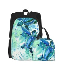 Turquoise Blue Sea Turtles In Ocean (1) School Backpack for Boys Teens Bookbag Travel Daypack Kids Girls Lunch Bag Pencil Case,Very suitable for shopping Water Resistant Teens Bookbag Fashion School Bags,Polyester.