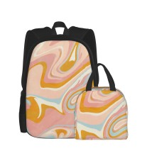 Vintage Marble School Backpack for Boys Teens Bookbag Travel Daypack Kids Girls Lunch Bag Pencil Case,Very suitable for picnic Water Resistant Teens Bookbag Fashion School Bags,Polyester.