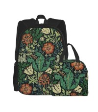 William Morris Compton Floral Art Nouveau Pattern School Backpack for Boys Teens Bookbag Travel Daypack Kids Girls Lunch Bag Pencil Case,Very suitable for hiking Water Resistant Teens Bookbag Fashion School Bags,Polyester.